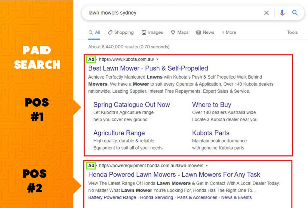 example of paid search pay per click advertising